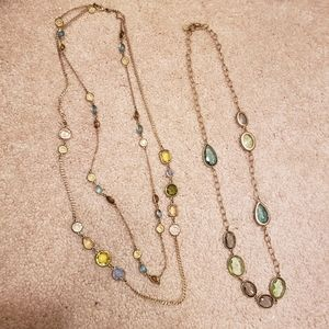 Talbots Necklace Gold Chains with Blue Green Stone